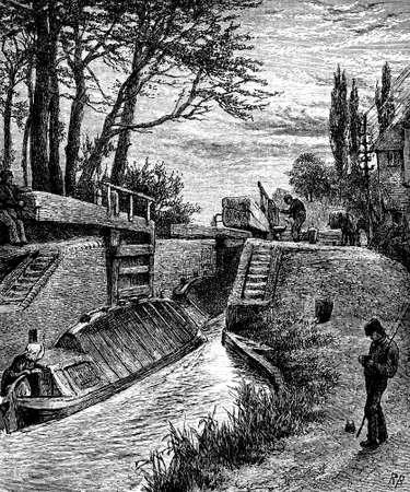 canal lock: 19th century of a canal lock near Berkhampstead, Hertfordshire, UK Stock Photo