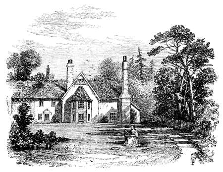 manor: 19th century engraving of a country manor, UK