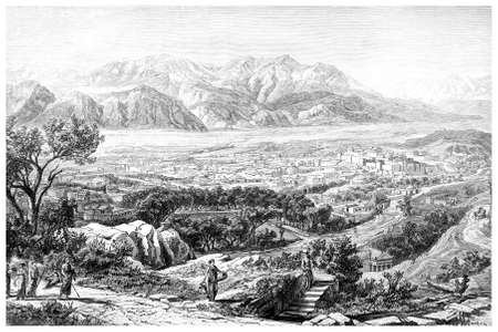 Victorian engraving of an ancient view of Sparta, Greece. Digitally restored image from a mid-19th century Encyclopaedia. Фото со стока