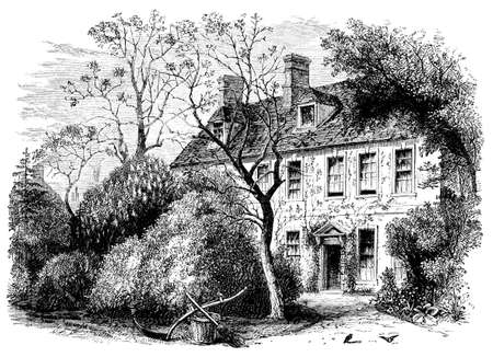 19th century engraving of a country manor, UK
