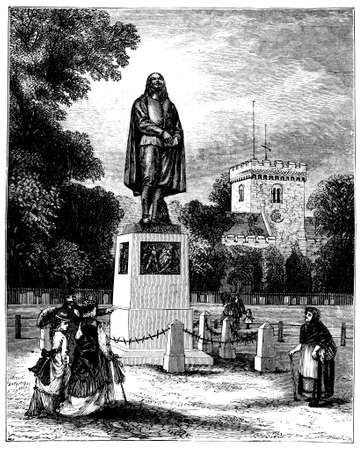 john: 19th century engraving of a statue of John Bunyan, Bedford, UK