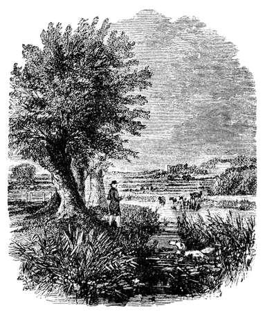川 Ouse、英国の 19 世紀の彫刻 写真素材