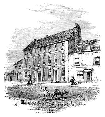 street scene: 19th century engraving of a town street scene, UK Stock Photo