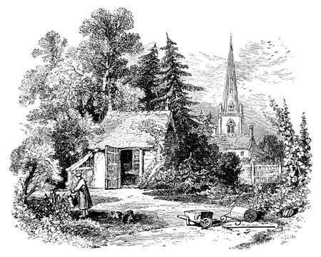 19th century engraving of a little country cottage, UK