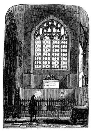 church interior: 19th century engraving of a church interior, UK Stock Photo