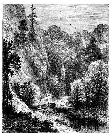 derbyshire: 19th century engraving of Beresford Dale, Derbyshire, UK