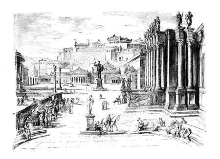 Victorian engraving of a n ancient view of the agora, Spart, Greece. Digitally restored image from a mid-19th century Encyclopaedia.