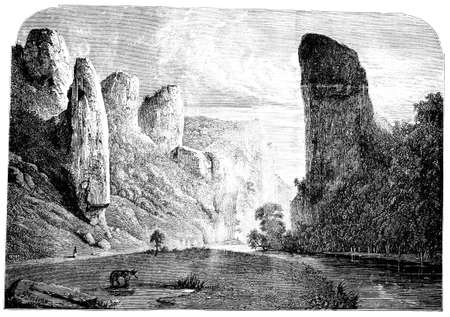 19th century engraving of Dovedale valley, Peak District, UK