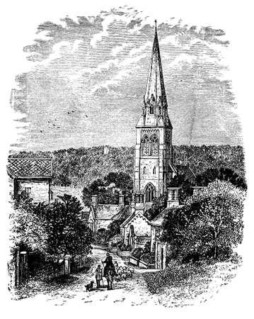 derbyshire: 19th century engraving of Edensor church, Derbyshire, UK