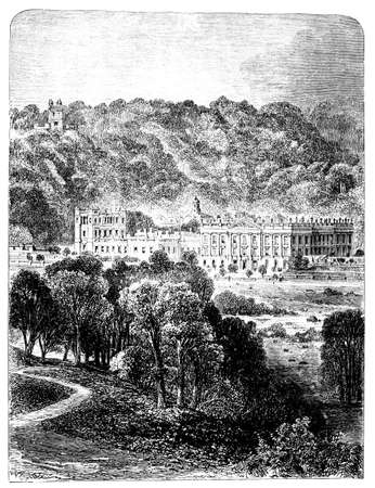 monument valley: 19th century engraving of Chatsford House, Derbyshire, UK