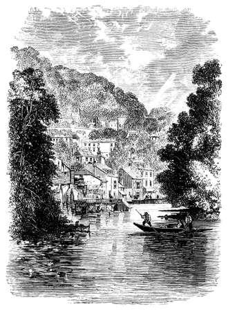 derbyshire: 19th century engraving of Matlock, Derbyshire, UK