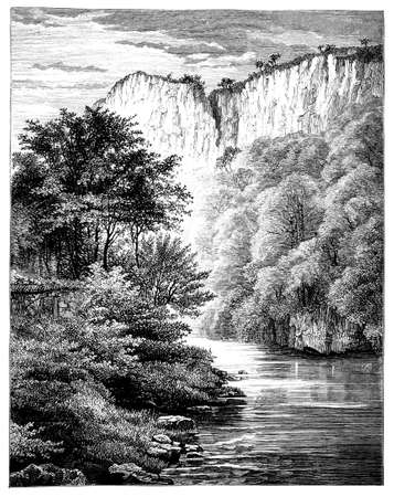 19th century engraving of a river scene near Matlock, Derbyshire, UK