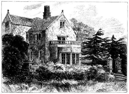 lea: 19th century engraving of Lea Hurst, Derbyshire, UK Stock Photo