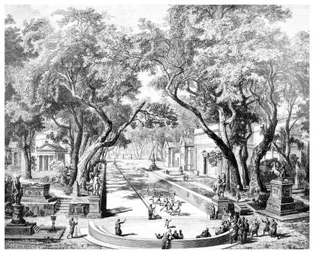 Victorian engraving of an ancient city scene in Sparta, Greece. Digitally restored image from a mid-19th century Encyclopaedia.