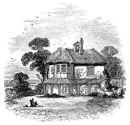 19th century engraving of a country cottage, UK Фото со стока