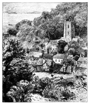 quantock hills: 19th century engraving of the Quantock Hills, Somerset, UK