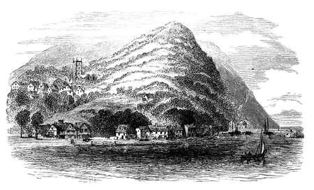 19th century engraving of a coastal town, UK Foto de archivo