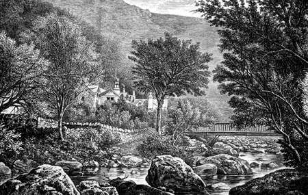 lynmouth: 19th century engraving of Lynmouth, Devon, UK