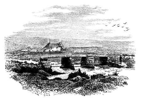moor: 19th century engraving of Dartmoor, UK Stock Photo