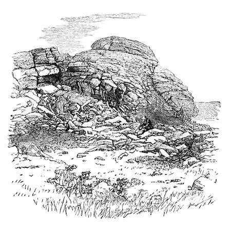 moor: 19th century engraving of a Dartmoor tor, UK