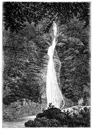Del siglo 19 de cascada cerca de Lydford, Devon, Reino Unido Foto de archivo - 42500053