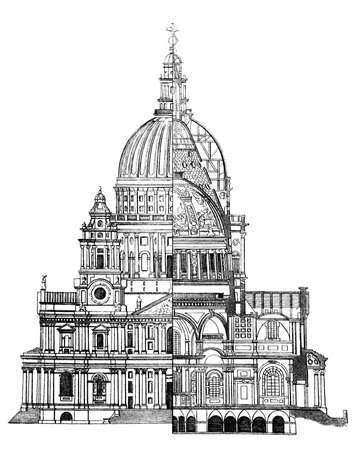 st pauls: 19th century engraving of a section of St. Pauls Cathedral, London