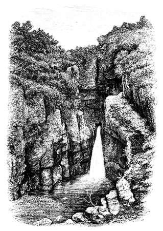 devon: 19th century of waterfall near Lydford, Devon, UK