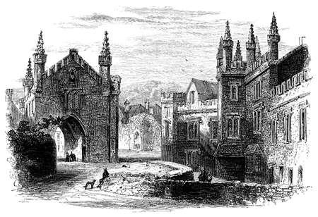 abbey: 19th century engraving of Tavistock Abbey, Devon, UK