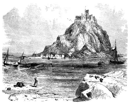 abbey: 19th century engraving of St. Michaels Mount, Cornwall, UK Stock Photo