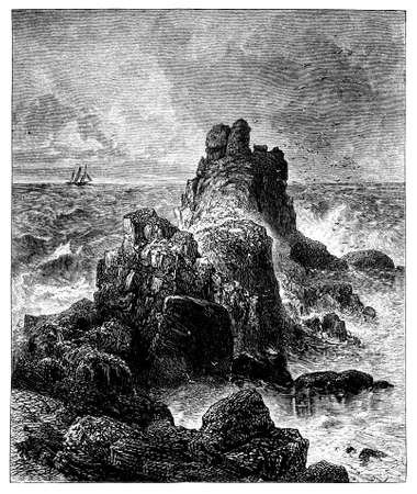 end: 19th century engraving of Lands End, Cornwall, UK