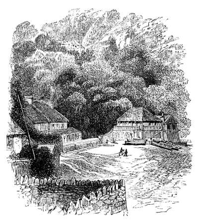thatch: 19th century engraving of the Cornwall coast, UK Stock Photo