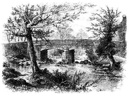 creek: 19th century engraving of a stone bridge in Devon, UK