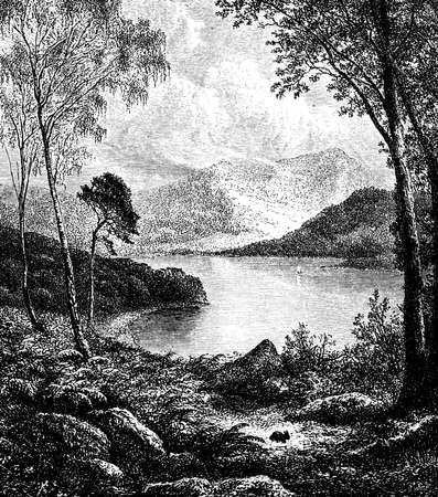 lake district: 19th century engraving of Derwentwater, Lake District, UK