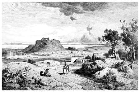 athens: Victorian engraving of a  view of Athens, Greece. Digitally restored image from a mid-19th century Encyclopaedia.