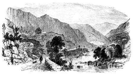 lake district: 19th century engraving of Borrowdale, Lake District, UK