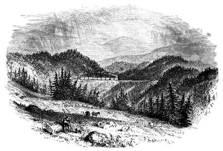 steam train: 19th century engraving  of a steam train