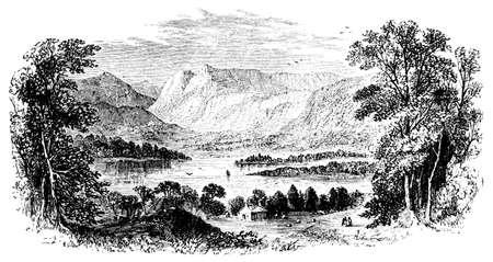 lake district: 19th century engraving of Windermere, Lake District, UK