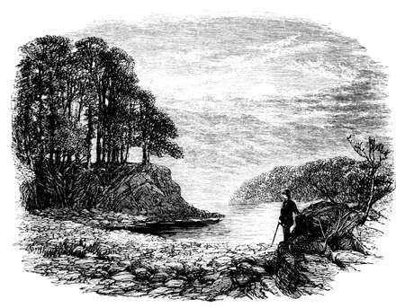 cumbria: 19th century engraving of the Cumbria landscape, UK