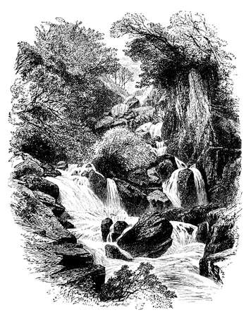 brook: 19th century engraving of a babbling brook