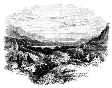 lake district: 19th century engraving of the Lake District, UK