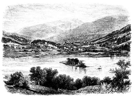 lake district: 19th century engraving of Grasmere village, Lake District, UK