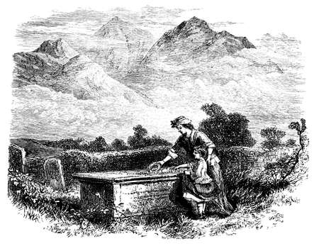 lake district: 19th century engraving of the Lake District countryside, UK Stock Photo