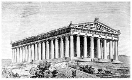 Victorian engraving of an ancient view of the Parthenon, Athens. Digitally restored image from a mid-19th century Encyclopaedia.