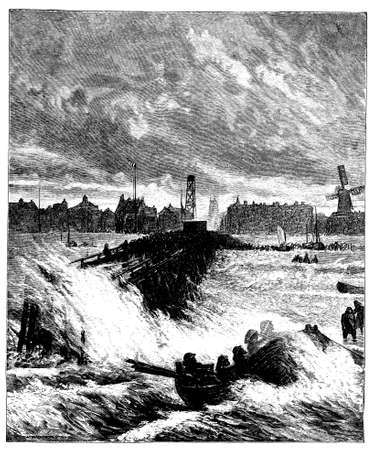 harbour: 19th century engraving of Great Yarmouth harbour, Norfolk, UK