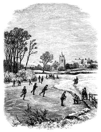 19th century engraving of a Fenland winter scene, UK Banco de Imagens