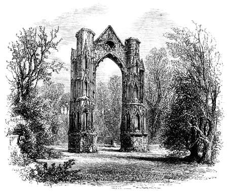 abbey: 19th century engraving of Walsingham Priory, Norfolk, UK