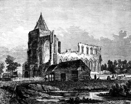 abbey: 19th century engraving of Crowland Abbey, Lincolnshire, UK
