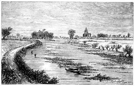 19th: 19th century engraving of Crowland Abbey, Lincolnshire, UK