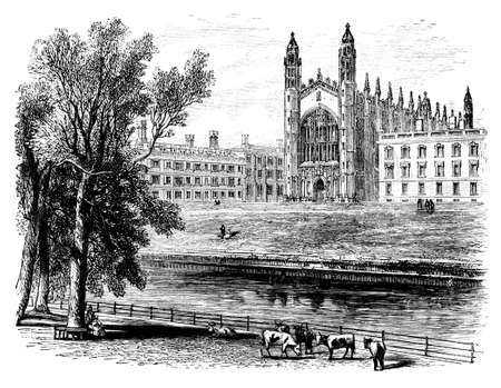 19th: 19th century engraving of Kings College, Cambridge, UK