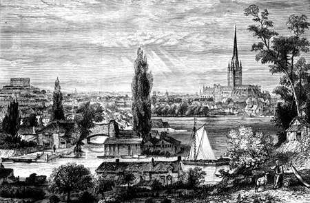 19th century engraving of Norwich, UK Banco de Imagens